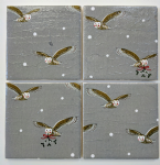 4 Ceramic Coasters in Sophie Allport Night Owl and Mistletoe